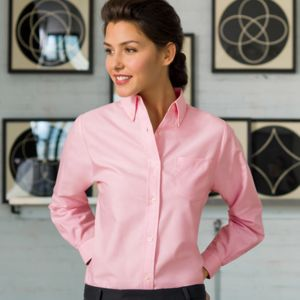 Ladies' Classic Wrinkle-Free Blend Long-Sleeve Oxford Woven Shirt Thumbnail